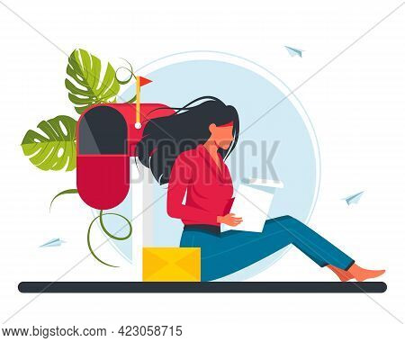 Woman Receiving Mail And Reading Letter. Flat Cartoon Vector Illustration For Email, Message, Commun