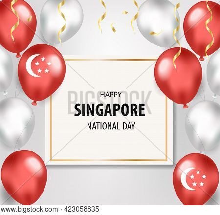 Singapore National Day Holiday Card, Template For Your Design. Independence Day. Vector Illustration