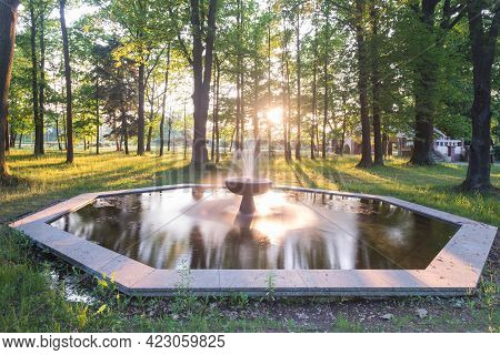 Ilowa, A Small Town In Poland. A Manor Park Located In The City. Tall Old Deciduous Trees, Green Gra