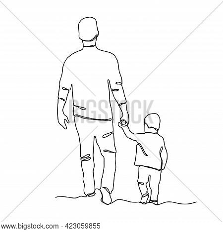Happy Father's Day. Continuous Line Drawing Father With Son. One Line Illustration