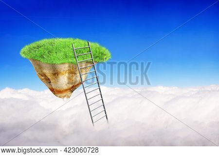Ladder of Success Concept. Stair in clouds and Flying Island on blue sky background. Fantastic scene with Stairway to heaven and floating island with green grass. Copy space for text. 3d render
