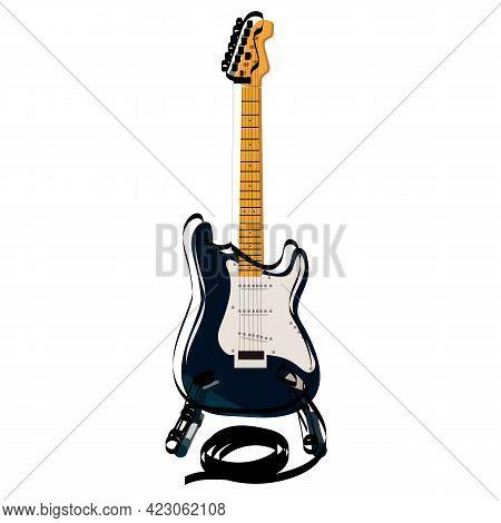 Electric Guitar Flat Vector Illustration. Rock Musical Instrument.