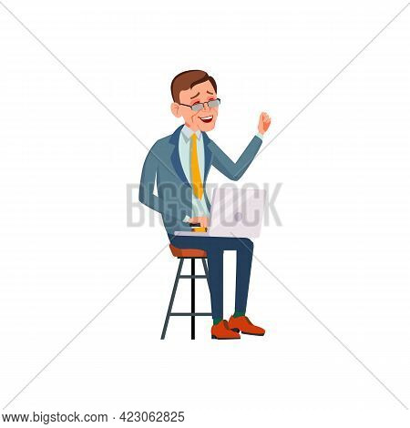 Businessman Laughing From Funny Video On Laptop Screen Cartoon Vector. Businessman Laughing From Fun
