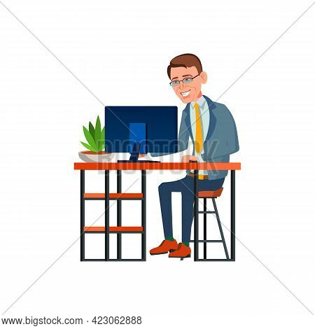 Happy Man Manager Working On Computer With Financial Report Cartoon Vector. Happy Man Manager Workin