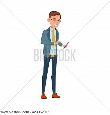 Businessman With Smartphone Talking With Employees In Office Cartoon Vector. Businessman With Smartp