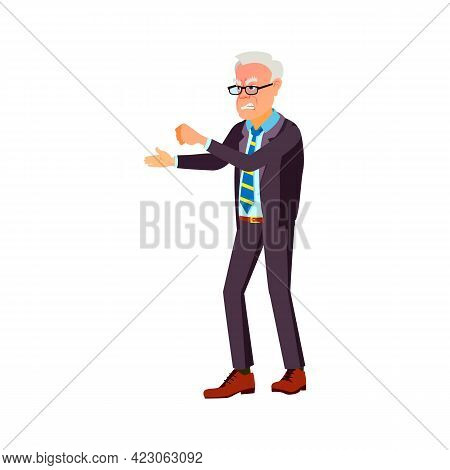 Angry Old Man Fighting On Street Cartoon Vector. Angry Old Man Fighting On Street Character. Isolate