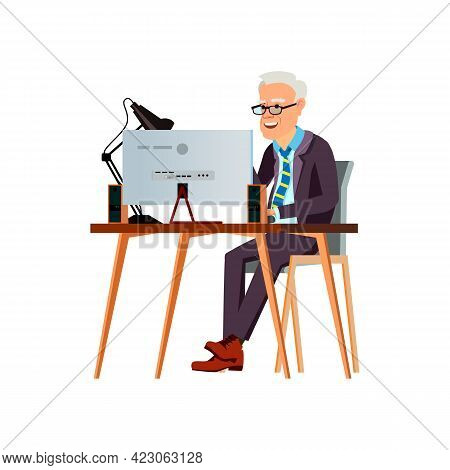 Happy Mature Man Reading Funny Book On Computer Cartoon Vector. Happy Mature Man Reading Funny Book