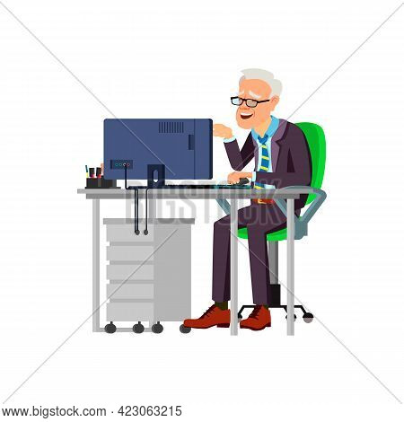 Mature Man Reading And Smiling From Joke On Computer Cartoon Vector. Mature Man Reading And Smiling