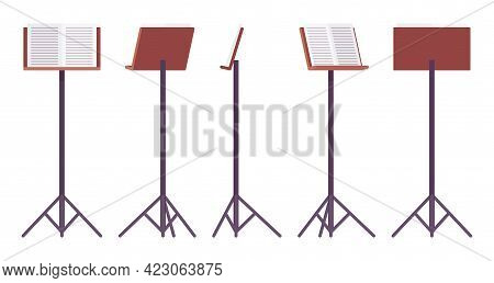 Sheet Music Stand, Brown Tripod Pedestal For Performers, Singers Pedestal. Orchestras, Choirs, Bands