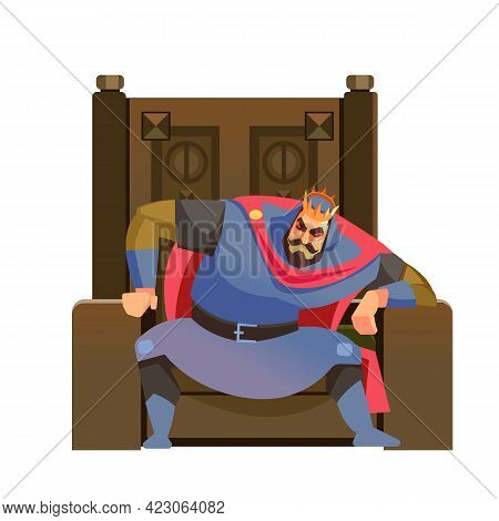 King Thinking. Pensive And Worried Monarch Sitting On His Throne. Responsibility Being Reign. Set Of