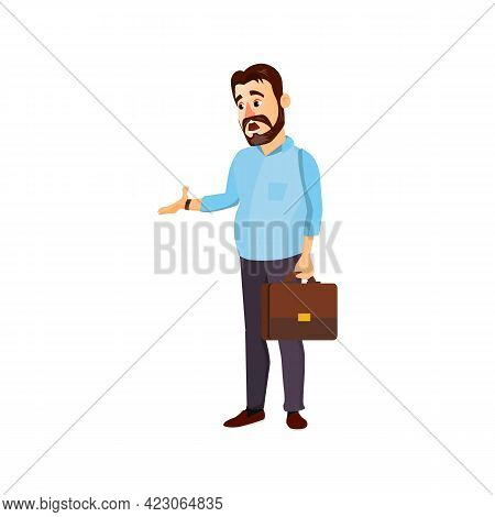 Frustrated Man Company Worker From Salary Cartoon Vector. Frustrated Man Company Worker From Salary