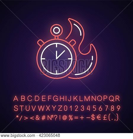 Time Limit Neon Light Icon. Fast Procedure. Urgent Task. Timer With Alarm. Limited Offer. Outer Glow