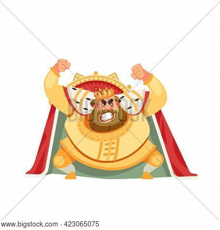 Angry King Character Shouting Before The Throne. Anger Emotion, In Rage, Boiled, Raging, Furious, Fr