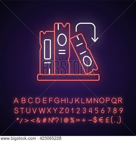 Book On Shelf Neon Light Icon. Search For Information. Solving Puzzles, Clues For Riddles. Outer Glo