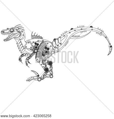 Steampunk Raptor Dinosaur Robot Coloring Book. Vector Illustration On A White Background.