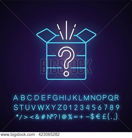 Mystery Box Neon Light Icon. Chest With Question Mark. Win Surprise. Solving Puzzles. Outer Glowing