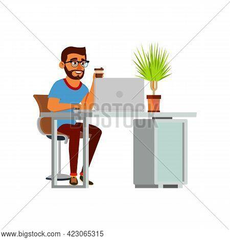 Hispanic Man Drinking Tea And Working At Workspace Cartoon Vector. Hispanic Man Drinking Tea And Wor