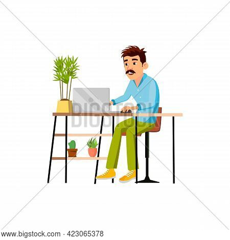 Adult Man Communicate With Partners On Laptop Device Cartoon Vector. Adult Man Communicate With Part