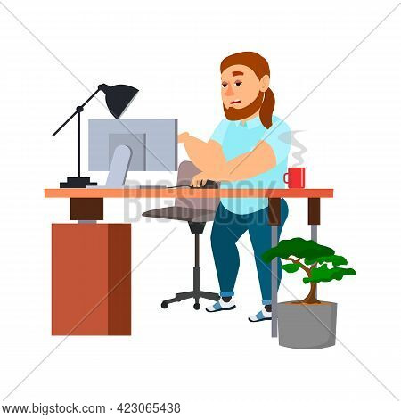 Bored Fat Man In Office On Money Morning Cartoon Vector. Bored Fat Man In Office On Money Morning Ch
