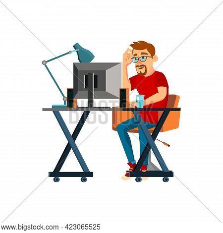 Man Developer Thinking About Software Program Code Cartoon Vector. Man Developer Thinking About Soft