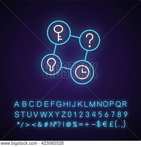 Connecting Facts Neon Light Icon. Mind Game. Analyze Question. Solving Puzzles, Clues For Riddles. O