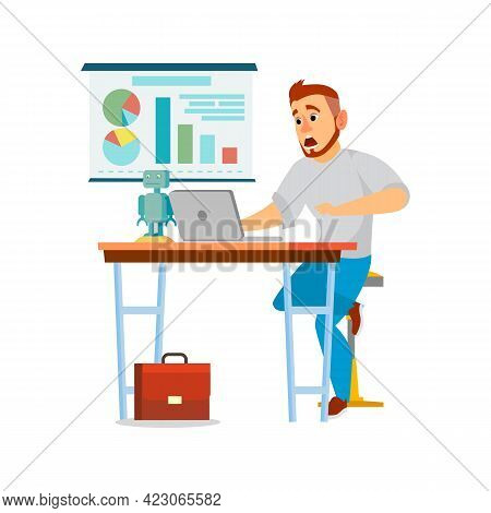 Disappointed Man Saw Mistake On Presentation Cartoon Vector. Disappointed Man Saw Mistake On Present