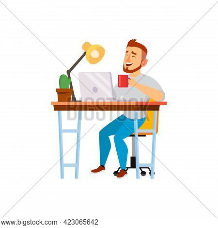 Happy Caucasian Man Laughing From Funny Image On Laptop Cartoon Vector. Happy Caucasian Man Laughing