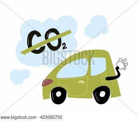 Doodle E-car, Eco Transport For The City. Co2 Neutral. Flat Design . Vector Illustration