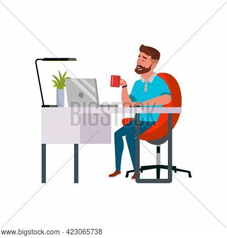 Happy Man Chatting With Girlfriend On Computer Cartoon Vector. Happy Man Chatting With Girlfriend On