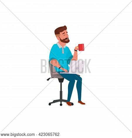 Young Man Drinking Tea And Check Mail On Laptop Cartoon Vector. Young Man Drinking Tea And Check Mai
