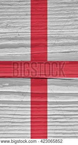 The Flag Of England On A Dry Wooden Surface, Cracked With Age. It Seems To Flutter In The Wind. Mobi