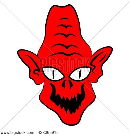 Funny Baby Demon In Cartoon Style. Vector Illustration On A White Isolated Background.
