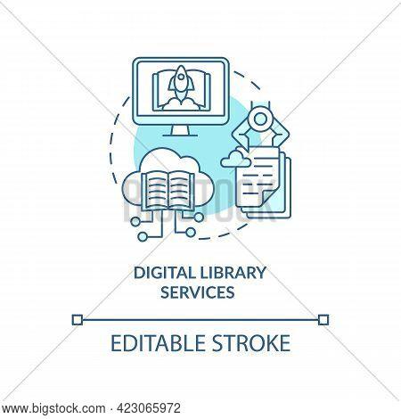 Digital Library Services Concept Icon. Community Development Abstract Idea Thin Line Illustration. V