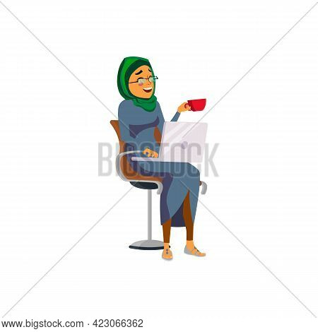 Laughing Islamic Woman Drinking Tea And Watch Film On Laptop Cartoon Vector. Laughing Islamic Woman