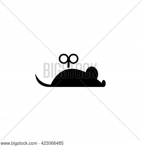 Clockwork Mouse, Mechanical Toy For Cats. Flat Vector Icon Illustration. Simple Black Symbol On Whit