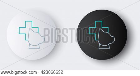 Line Veterinary Clinic Symbol Icon Isolated On Grey Background. Cross With Dog Veterinary Care. Pet