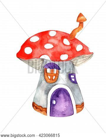 Fairy-tale House Of Dwarves. Fly Agaric-home For Decorating Postcards, Books, Notebooks, Posters, Pi