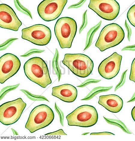 Watercolor Seamless Pattern With Avocado On A White Background. Green Avocados With Leaves In Waterc