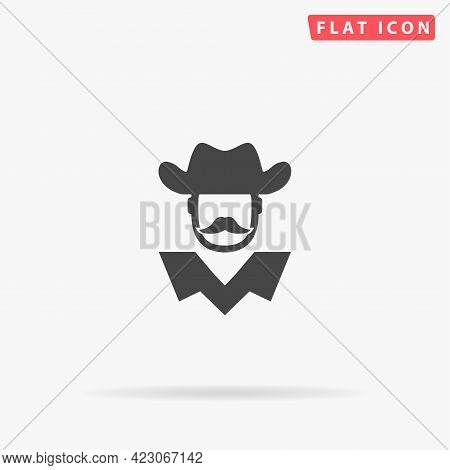 American Cowboy, Sheriff Flat Vector Icon. Hand Drawn Style Design Illustrations.
