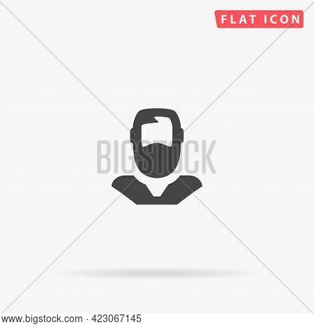 Bearded Man Flat Vector Icon. Hand Drawn Style Design Illustrations.