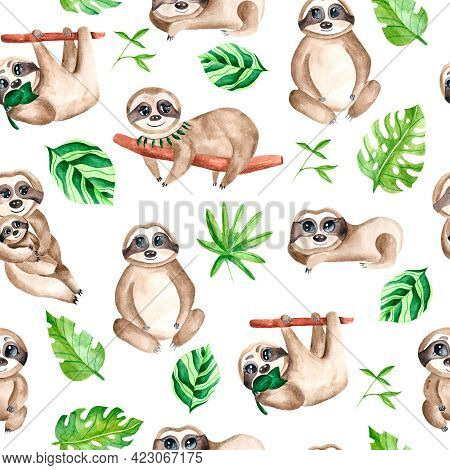 Watercolor Seamless Pattern With Sloths. The Family Of Sloths. Pattern With Animals. Watercolor Fabr