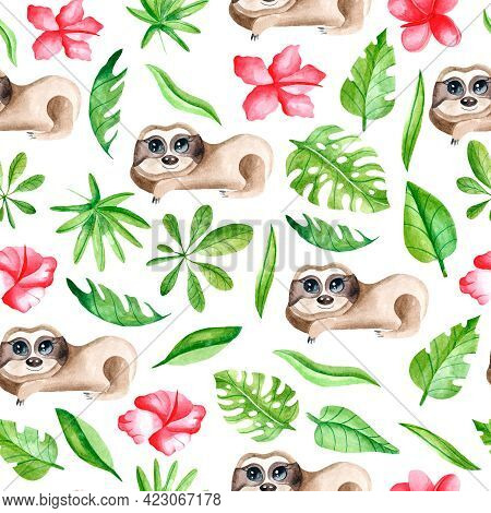 Watercolor Seamless Pattern With Sloths, Leaves And Flowers On A White Background. Tropical Animals