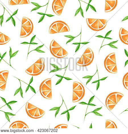 Watercolor Seamless Pattern With Citrus. Design For Dresses With Orange Fruit. Seamless Illustration