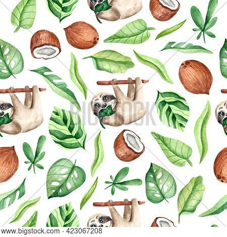 Watercolor Seamless Pattern With Sloths On A Twig, Leaves, Coconut On A White Background. Tropical A