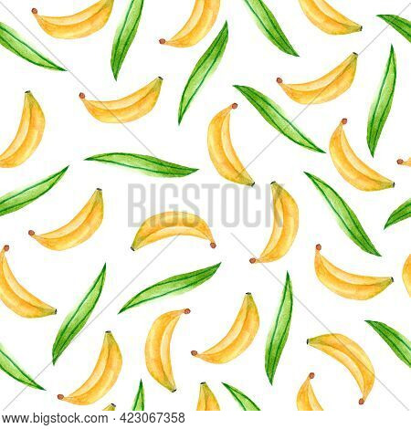 Watercolor Seamless Pattern With Tropical Bananas. Design For Dresses With Bananas. Seamless Fruit I