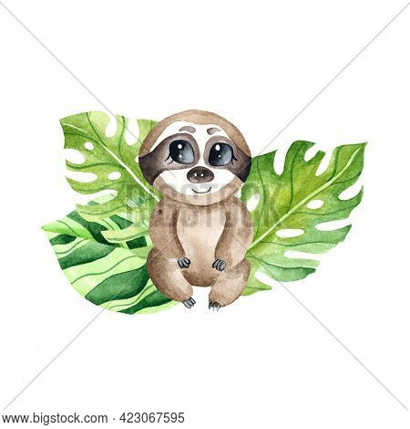 Watercolor Little Sloth With Leaves. Children's Watercolor Print For Decoration Of Postcards, Rooms,