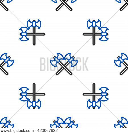 Line Crossed Medieval Axes Icon Isolated Seamless Pattern On White Background. Battle Axe, Execution