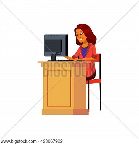 Happy Emotion Young Woman Writing Email To Friend Cartoon Vector. Happy Emotion Young Woman Writing
