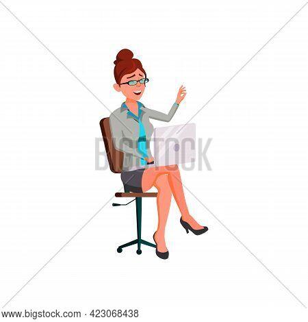 Cute Woman Reading Funny Story On Laptop Device Cartoon Vector. Cute Woman Reading Funny Story On La