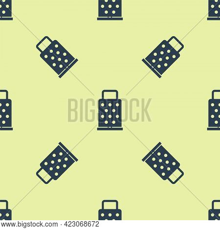 Blue Grater Icon Isolated Seamless Pattern On Yellow Background. Kitchen Symbol. Cooking Utensil. Cu